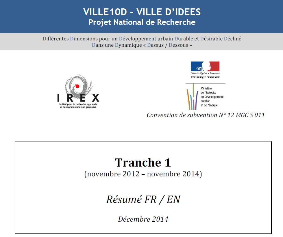 VILLE10D - VILLE D'IDEES : synthèse des travaux de la première tranche